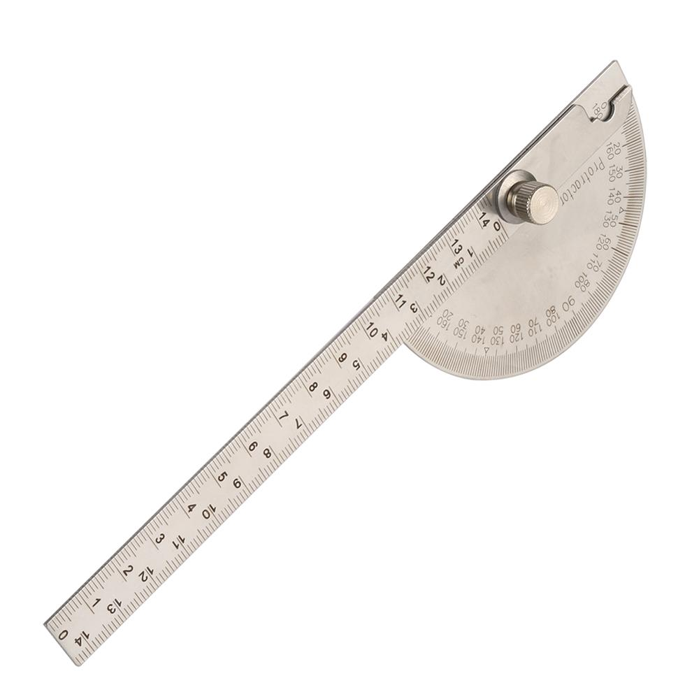 14.5cm 180 Degree Adjustable Protractor Multifunction Stainless Steel Roundhead Angle Ruler Mathematics Measuring Drawing Tool