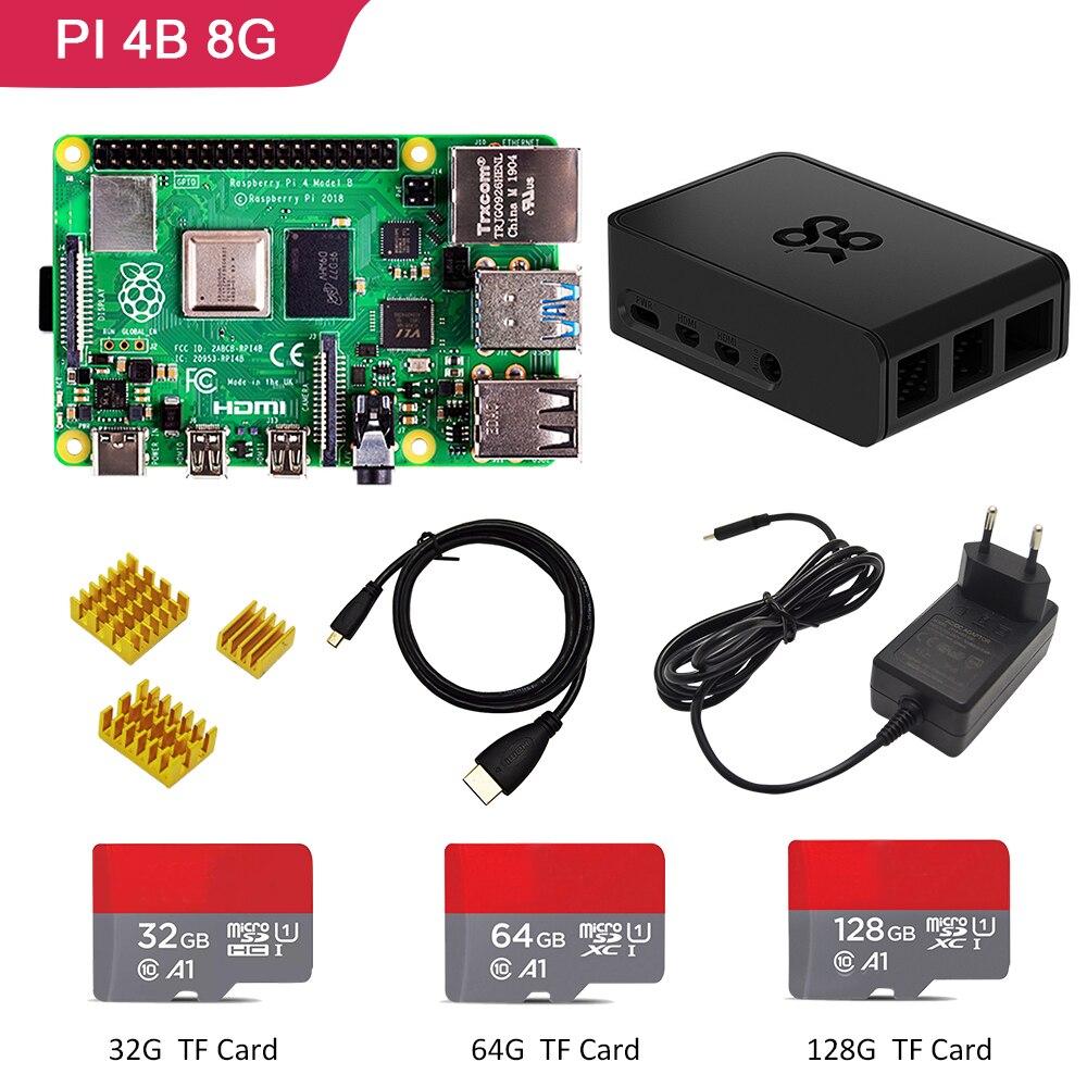 Raspberry pi 4, kit de 8GB de Ram, Raspberry Pi 4, 8GB 4B PI Modelo B + disipador de calor + adaptador de corriente + funda + 32/64/128GB SD + Cable HDMI