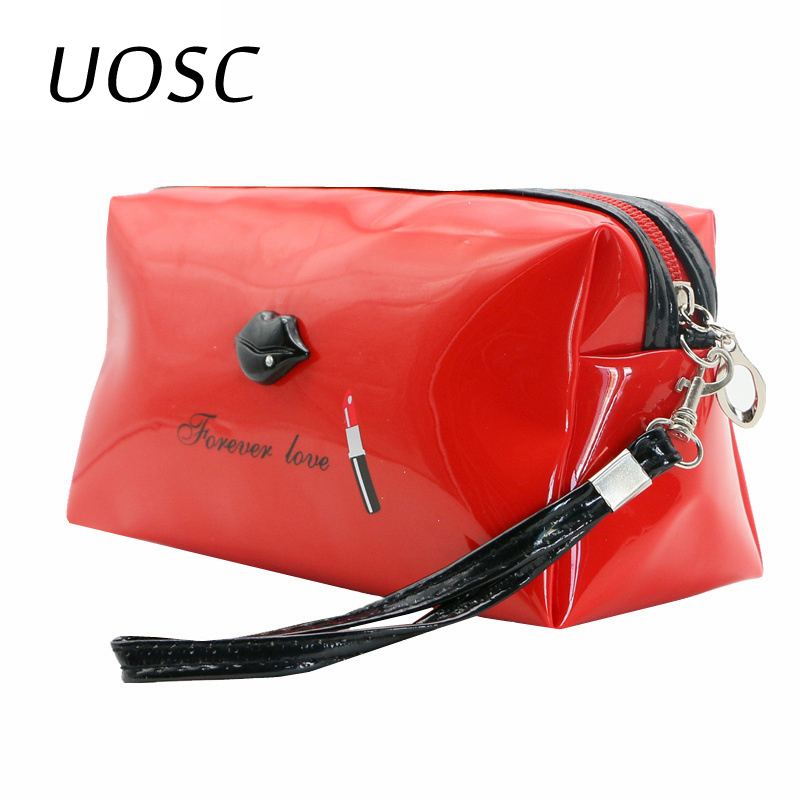 UOSC Cosmetic Bags For Women Female Travel Portable PU Leather Bright Lips Cosmetic Case Bags Multifunction Makeup Bag Neceser