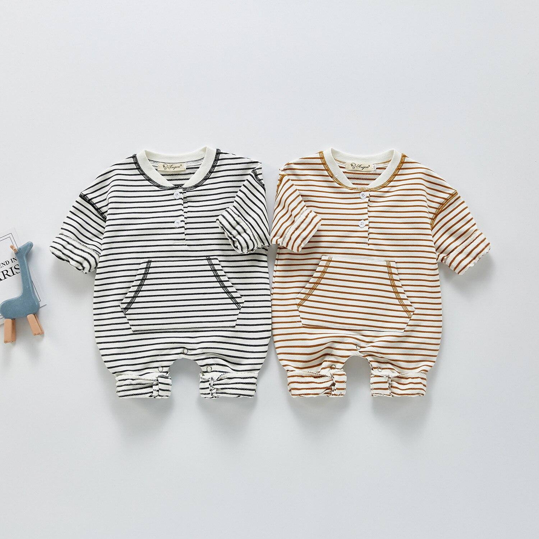 Primavera verão nova menina do bebê roupas de manga longa recém-nascido o-pescoço bodysuit crianças meninos macacão de algodão e macacões 0-3 anos de idade