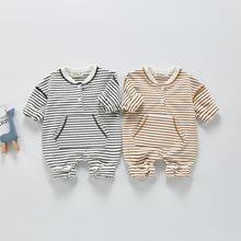 Сезон весна-лето; Новинка; Для маленьких девочек с длинными рукавами, Одежда для новорожденных, с о-образным вырезом, боди, детская одежда дл...