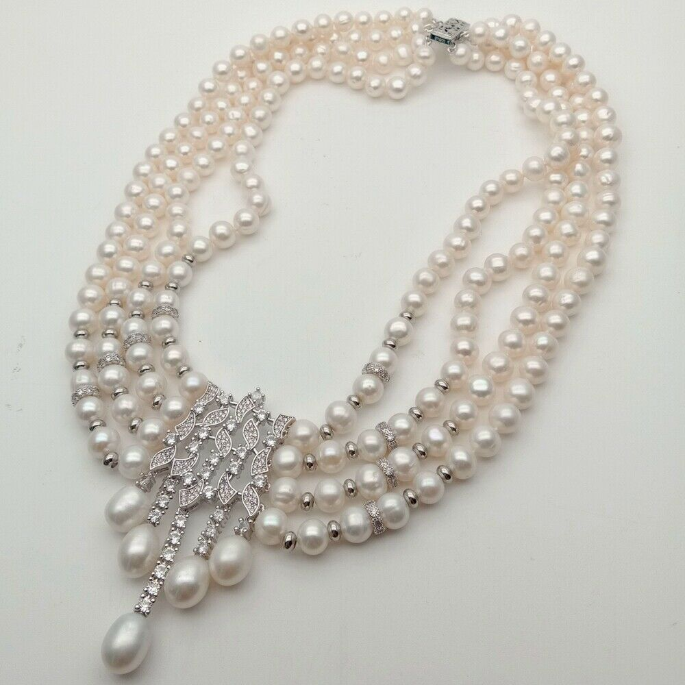 "22/"" 3 Strands Gray Rice Pearl Necklace Sea Shell Pearl CZ Pendant"