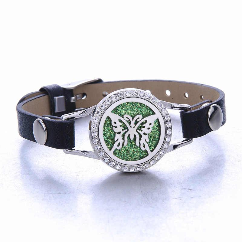 2019 Nieuwe Aromatherapie Sieraden Lederen Kristal Armband Rvs Aroma Diffuser Medaillon Essentiële Olie Diffuser Armbanden