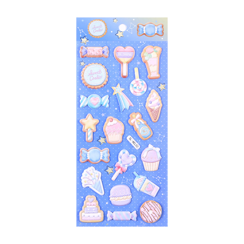 New Arrival Cute Puffy Candy Cake Diamond Heart 3D Stickers  DIY Scrapbooking Diary Stationery Stickers School