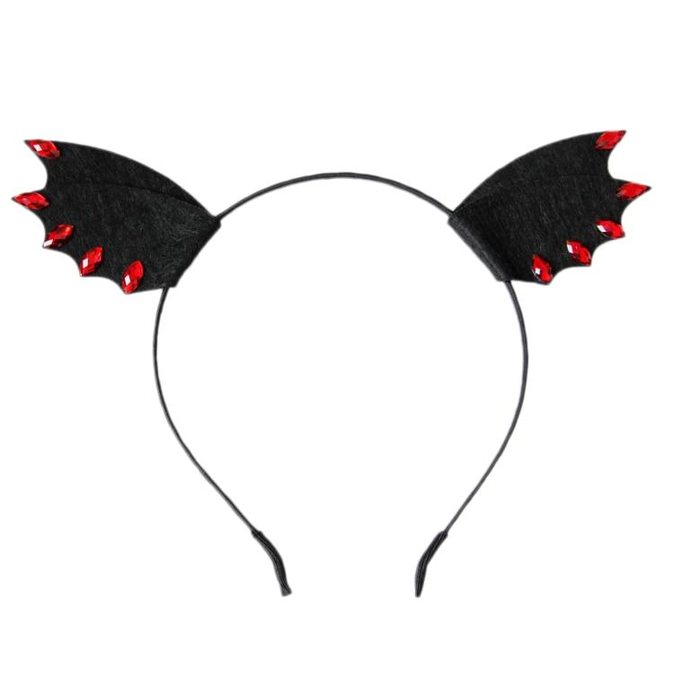 Halloween Black Animal Ear Devil Wings Bat Cosplay Gothic Women Girl Hair Band Headband Accessories