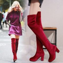 women over the knee boots high heels  shoes woman round toe sexy booties wxz119