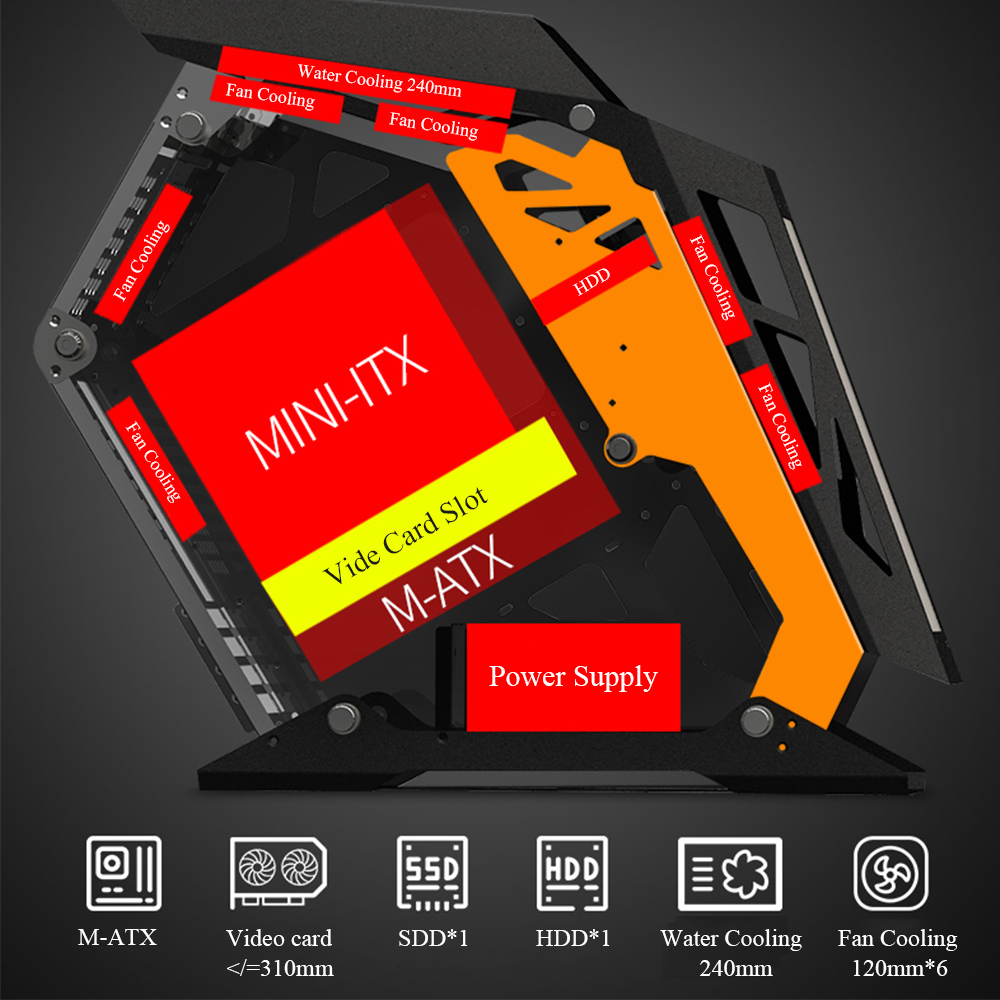 MATX Mini ITX Motherboard Computer Gamer Case DIY Side Transparent Open Mini Mute Desktop Case Gaming Tower 2