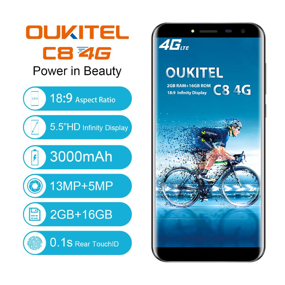 Oukitel C8 4G Smartphone 5.5 inch 18:9 Ratio 3000 Mah 2G Ram 16G Rom Cellphone 13MP 5MP Fingerprint Unlock Mobile Phone|Cellphones| |  - title=