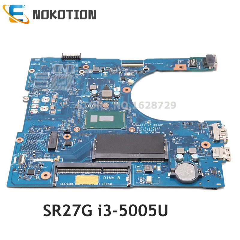 NOKOTION CN-0F0FC6 0F0FC6 AAL10 LA-B843P mainboard For Dell inspiron 5458 5558 5758 laptop motherboard <font><b>SR27G</b></font> i3-5005U CPU image
