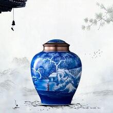 Большой емкости керамическая урна для кремационной золы человека урны для пепла похорон кремации Тематические товары погребальная урна ваза-держатель ритуалов