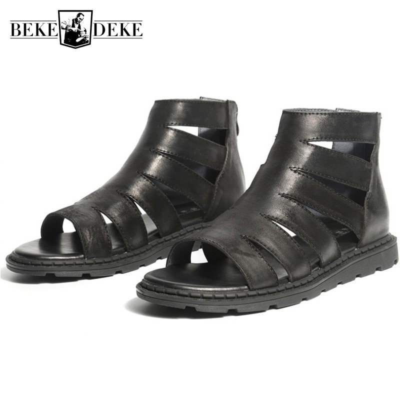 Summer Fashion Mens High Top Hollow Out Gladiator Sandals Man Zipper Open Toe Flats Genuine Leather Shoes Beach Sandals White