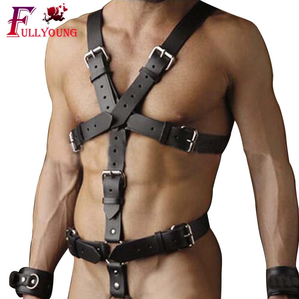 Fullyoung Leather Harness Male Shoulder Belts Pastel Men's Leather Belt Adjustable Metal Buckle Waist Body Bondage Toys For Man