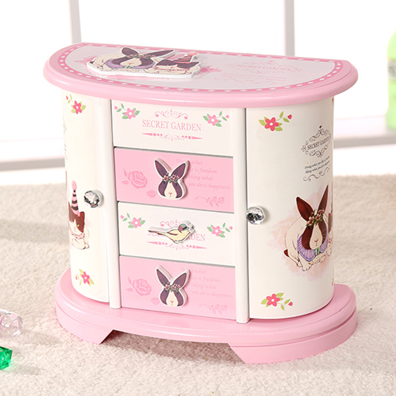 Customizable European Style South Korea Princess Jewlery Box Wooden Ornaments Lovers Rabbit Jewlery Box Valentine's Day Gift