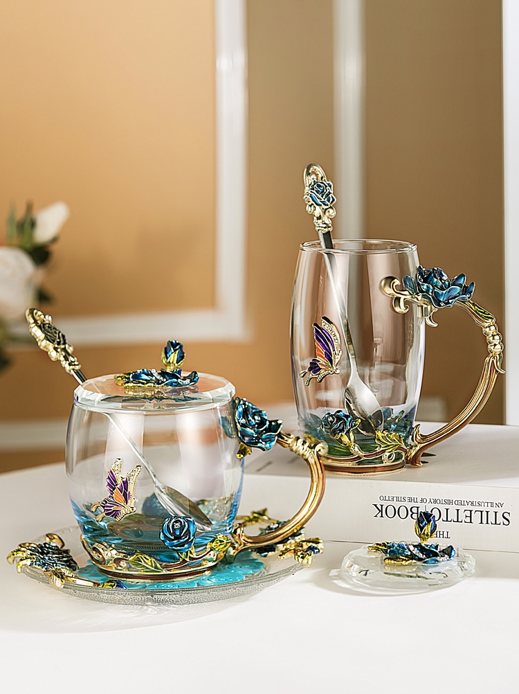 European Style Enamel Glass Cup Coffee Milk Drink Flower Tea Cup Set With Lid Spoon Gift Box Couple Friends Cup Heat-resistant
