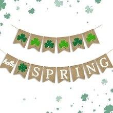 HELLO SPRING Jute Burlap Banner St Patricks Day Irish Festival Decorative Hanging Ornaments
