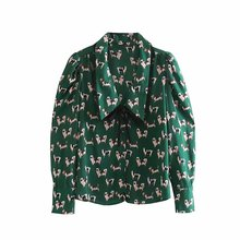 women sweet peter pan collar bow tied casual blouse office lady peppy dog print