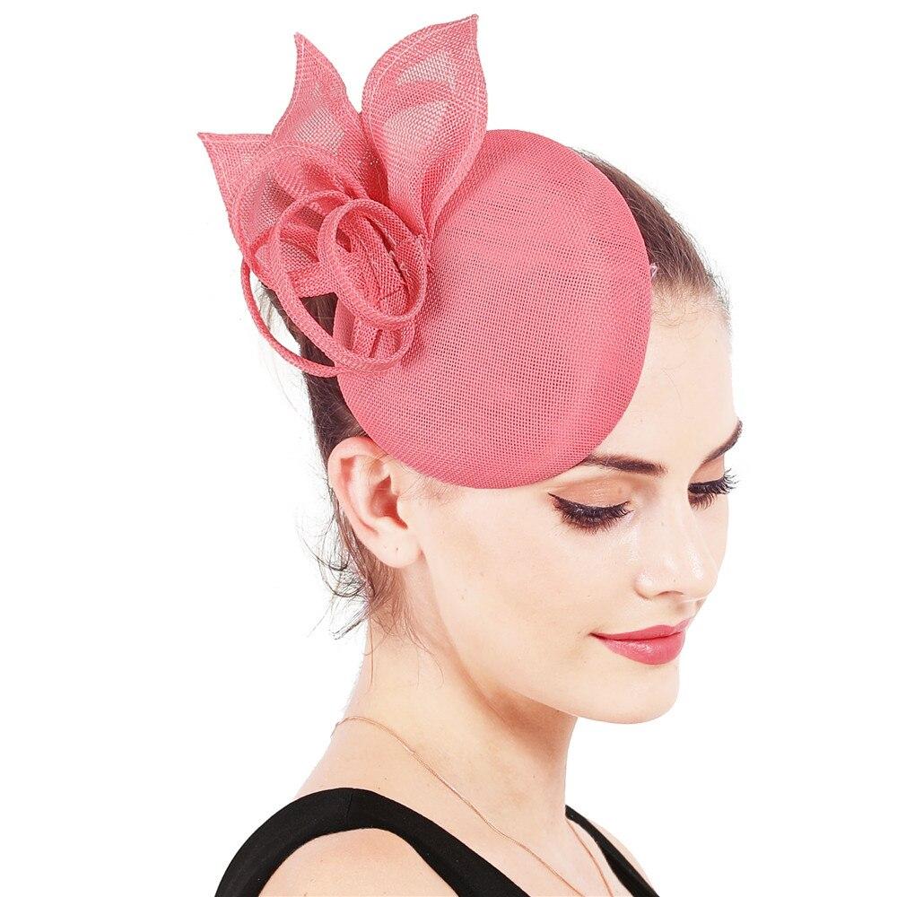 Винтажный головной убор цвета хаки, головной убор Sinamay, головной убор для особых случаев, шляпа Кентукки Дерби, церковная Свадебная вечеринка, гонка, высокое качество - Цвет: Розовый