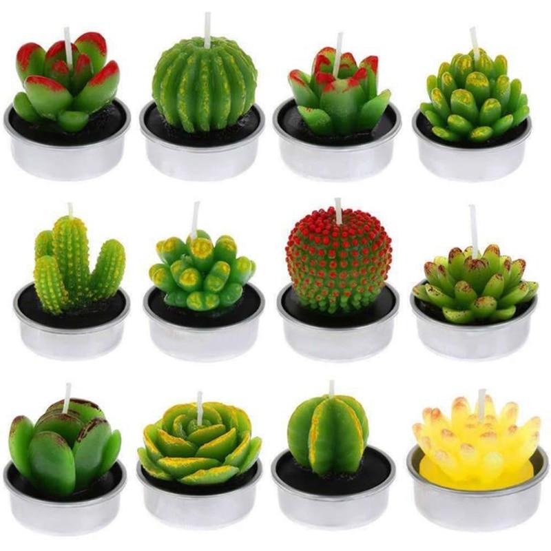 6Pcs 3D Cactus Candle Simulated Plant Set Home Decoration Candle Tea Light Decor