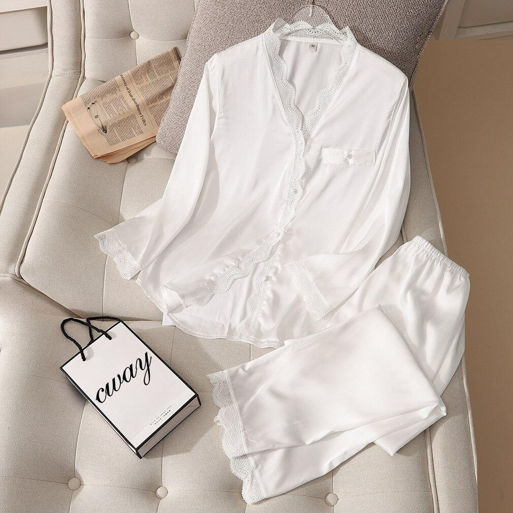 Julysong s canção nova mancha laço mulher pijamas conjunto peças primavera outono pijamas elegante cor sólida v-neck gelo seda homewear