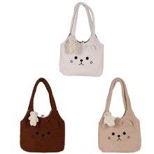 Tote-Bag Shoulder-Shopper-Bag Plush Winter Women Cute Bear Cartoon Soft 3-Colors Embroidery