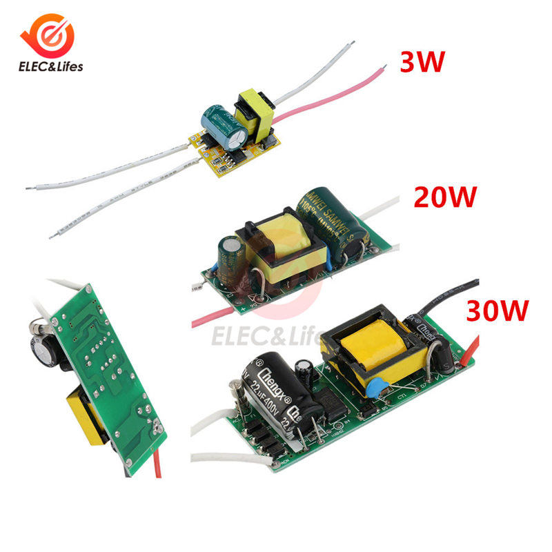 AC 85-265V LED Driver 3W 20W 30W 100mA 600mA 900mA 12V 15V 24V Constant Current Lighting Transformers Power Supply For LED Lamps