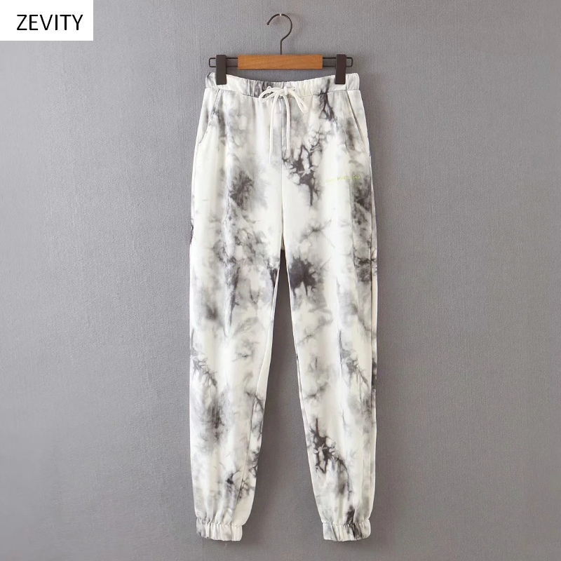 Zevity New Women Vintage Ink Tie Dyed Painting Jogging Pants Chic Female Elastic Waist Casual Pantalones Mujer Bow Trousers P824