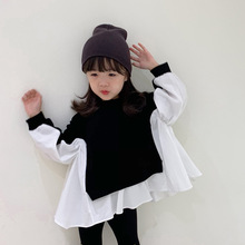 2 To12 Years Kids Girls Two-Color Patchwork Shirt  Korean Style Children 2021 Spring Loose Casual Tops Fashion Clothing, #9430