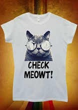 Check Meowt Cat Kitten Hipster Men Women Unisex T Shirt Vest 1057Cartoon t shirt men Unisex New Fashion tshirt(China)