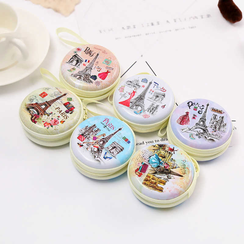 Cute Round Paris Eiffel Zipper Coin Case for headphones Earphone Earbuds Memory Card Mini Wallet Keys Coin Purses Box new