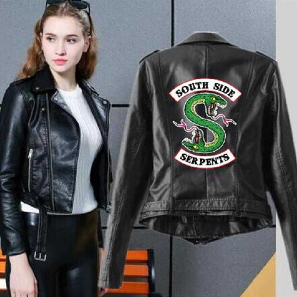 2019 Riverdale Leather Jacket Women Fashion PU Motorcycle Jackets Southside Serpents Artificial Short Leather Motorcycle Coats