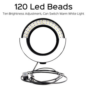 Image 2 - 10inch 26cm Photography LED Ring Light Kit Phone Studio Camera Light Makeup Video Fill Lamp With Phone Clip Tripod Stand 120 LED
