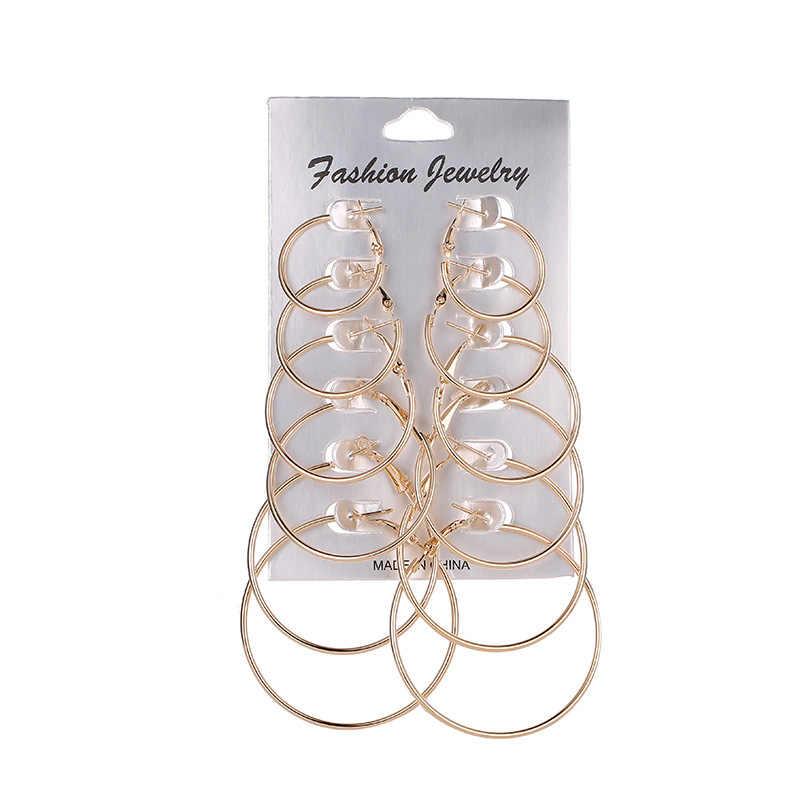 6 paar Kreis/runde Große Hoop Ohrringe für Frauen Silber Ohr Ringe Ohrring Set Gold Mode Hoops 2019 Frau zubehör Schmuck