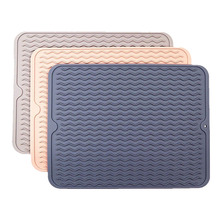 Silicone Drying Mat Kitchen Tools Thickness Heat Resistant Trivet Drip Tray Cup Coasters Non-Slip Pot Holder Table Cushions