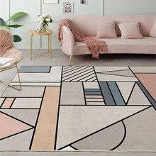 Nordic geometric mosaic Gray pink Door mat bedroom bedside plush rug living room floor mat non-slip bathroom carpet custom made pebble series flannel printing home anti slip absorbent entry mat bathroom mat door mat bedside mat