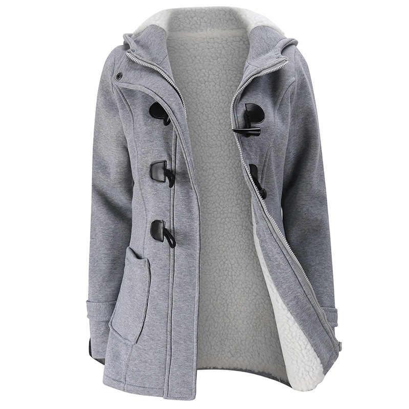 2020 새로운 가을 겨울 여성 경적 단추 코트 슬림 따뜻한 모직 자 켓 여성 Outwear 플러스 크기 후드 코트 여성 5XL 6XL