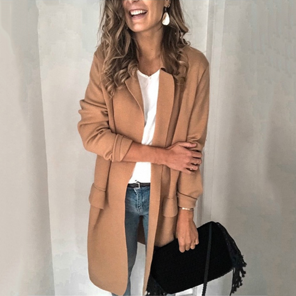 2019 Women's Trench Spring New Loose Solid Color Coats Women Thin Style Femme Windproof Pockets Slim Streetwears Plus Size