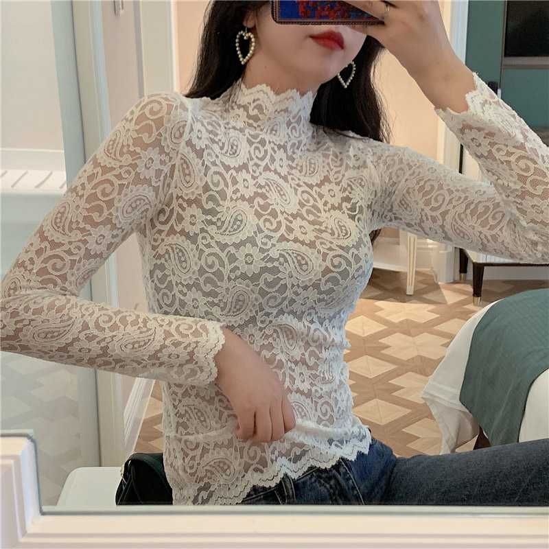 Spring Summer Sexy Hollow Out Lace Shirts Women Tops and Blouses Black White See Through Elegant Ladies Floral Turtleneck Blusas