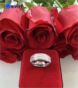 Image 5 - Anillo de boda de carburo de tungsteno para hombre y mujer, con Flecha de acero dorado rosa y incrustación de meteorito blanco, novedad