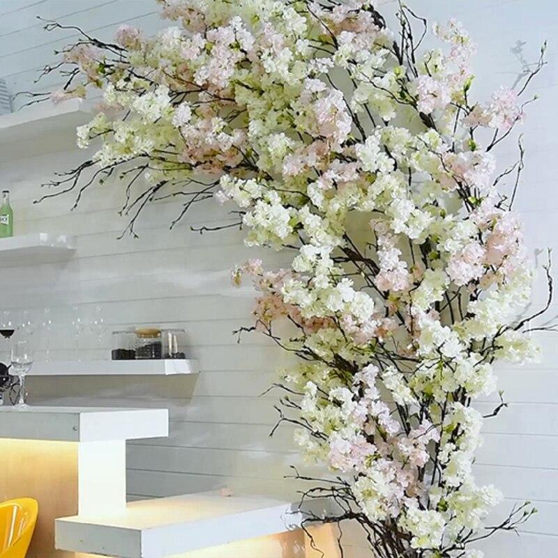 Flores de cerejeira de seda bouquet flor de plástico artificial flores ramo falso árvore sakura desejando árvores festa de casamento decoração para casa