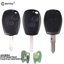 KEYYOU 2 Buttons Remote Control Key Cover For Renault Duster Modus Clio 3 Twingo DACIA Logan Sandero Kangoo 433MHz ID46 Chip(China)