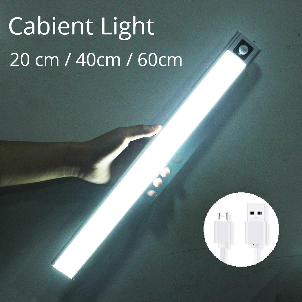 LED PIR Motion Sensor Closet Wardrobe Lamp Under Cabinet Light Thermal Rechargeable Ultra Thin Aluminum Shell Lamp Night Light
