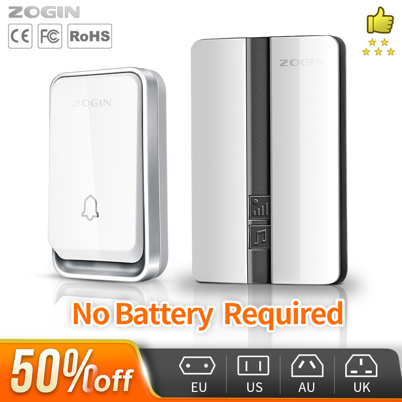 ZOGIN Wireless Doorbell Waterproof Self-powered Smart Door Bell Home No Battery Required Cordless Ring Dong Chime Timbre Calling