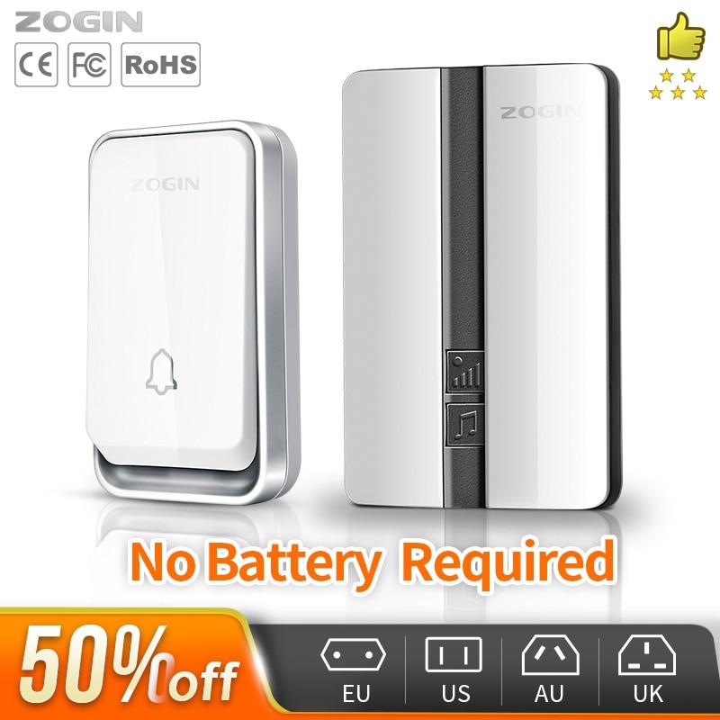 ZOGIN Wireless Doorbell Waterproof Self powered Smart Door Bell Home No Battery Required Cordless Ring Dong Chime timbre calling|Doorbells|   - AliExpress