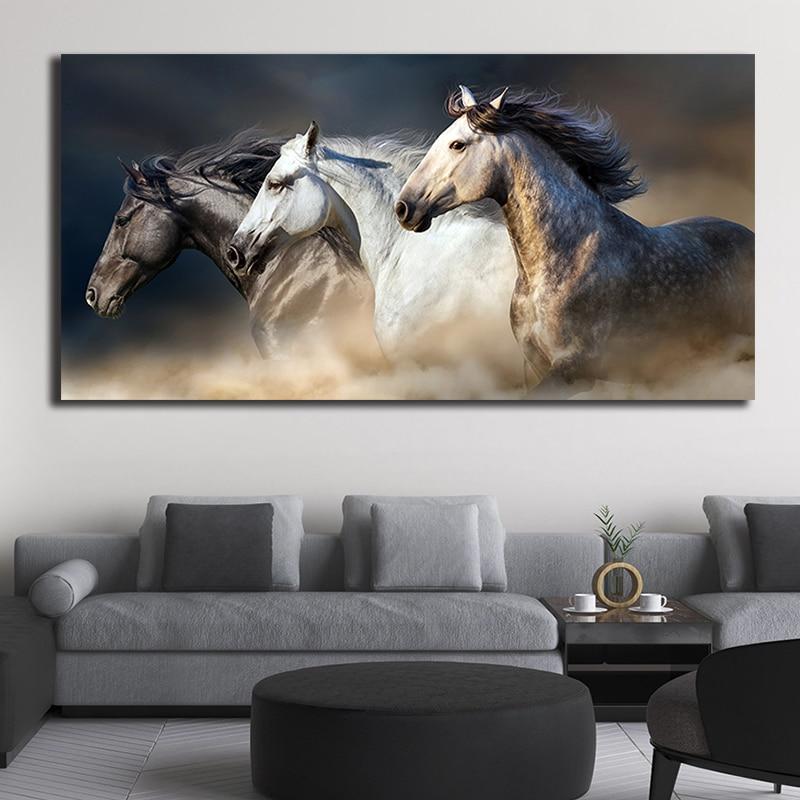 Horse Canvas Painting Three Black White Running Modern Unframed Wall