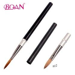 BQAN professionnel 12 # lumière mat noir poignée acrylique brosse à ongles Kolinsky Sable brosses à cheveux manucure Art outil
