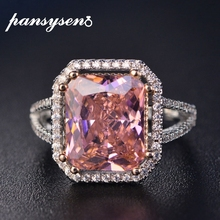 PANSYSEN 100% الصلبة 925 الفضة والمجوهرات خواتم للنساء 10x12 مللي متر الوردي الإسبنيل الماس غرامة مجوهرات الزفاف خاتم الخطوبة