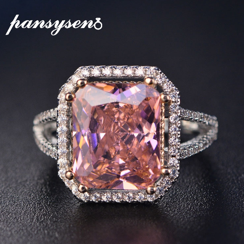 PANSYSEN 100% Solid 925 Silver Jewelry Rings For Women 10x12mm Pink Spinel Diamond Fine Jewelry Bridal Wedding Engagement Ring(China)