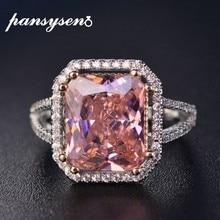 PANSYSEN-bagues à bijoux en argent 100% solide, 10x12mm, rose spinelle et diamant fin, bague de fiançailles de mariée, 925