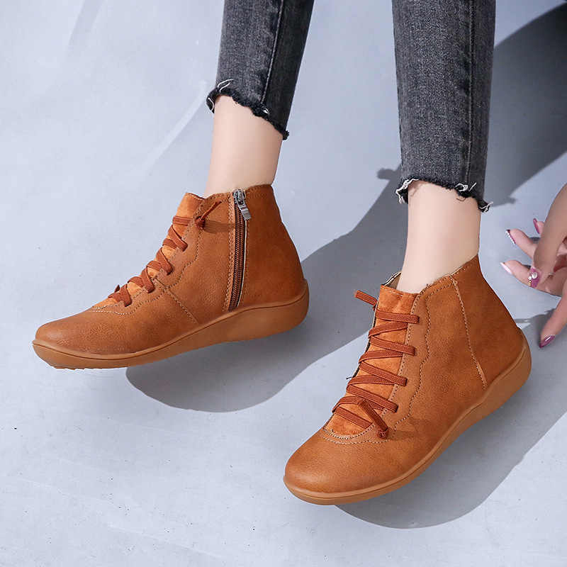 Botas de tobillo de cuero PU para Mujer Otoño Invierno zapatos con correa cruzada Vintage zapatos planos para Mujer Zapatillas Mujer Botas Mujer