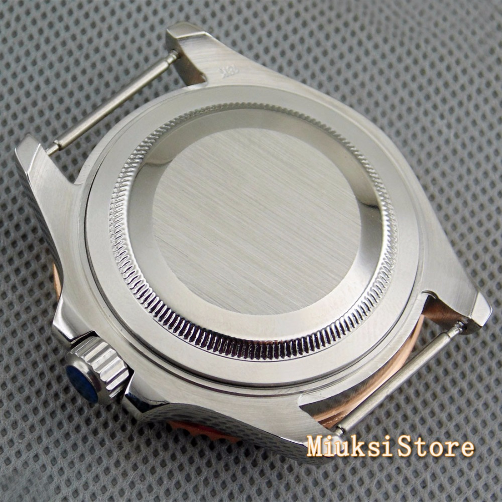 Parnis 40mm caso ajuste ETA vidro de safira rosa de ouro 2836